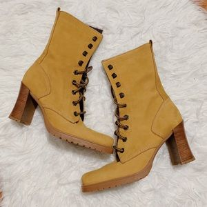 Vintage Nine West Yellow Lace Up Boots